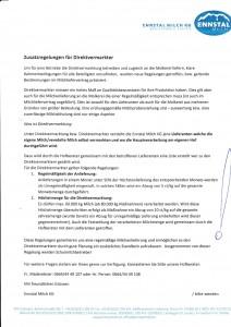 Beilage Zusatzregelungen Direktvermarkter - Ennstal Milch
